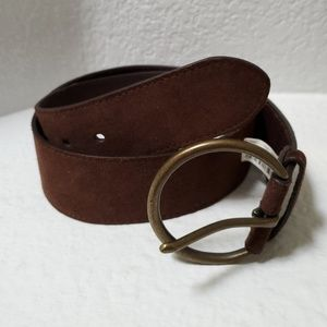 J. Crew dark brown wide suede like belt small size